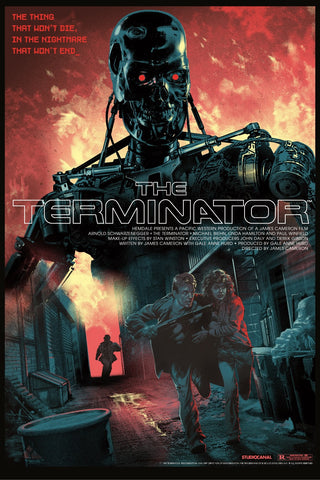 """The Terminator"" by Stan & Vince. 24″ x 36″ 10-color Screenprint w/ Metallic ink applied to the Endoskeleton. Edition of 50 N. £75 ($105) (Tech-Noir Ultra Variant)"