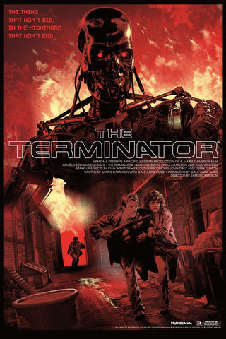 """The Terminator"" by Stan & Vince. 24″ x 36″ 9-color Screenprint. Edition of 175 N. £55 ($77) (T-800 Variant)"