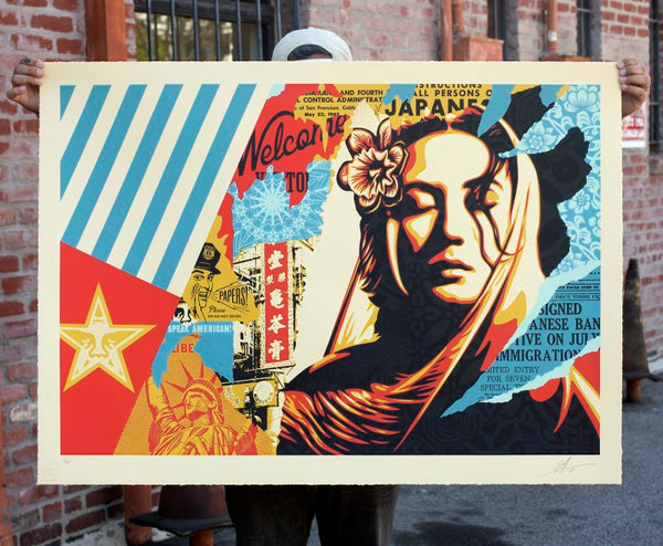 """Welcome Visitor"" (Detail 2) by Shepard Fairey"