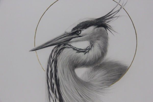 "Vanessa Foley - ""Great Blue Heron"" 1st Edition - 2016 (Detail 1)"