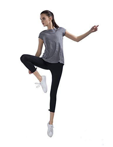 Womens Loose Fit Yoga Gym Training T-Shirt Activewear Relaxed Baggy Ultra Soft Athletic Sports Tops