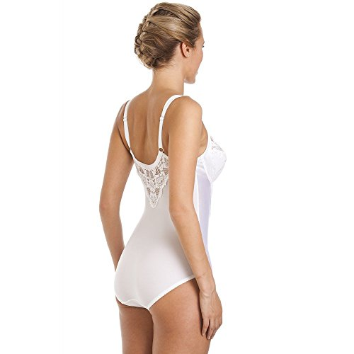Camille Womens Ladies White Underwired Non Padded Floral Lace Shapewear Body