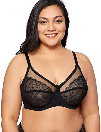 Delimira Women's Sheer Lace Unlined Full Cup Plus Size Underwire Bra Breathable