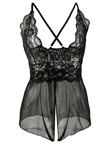 Buauty Women Cute Teddy Lingerie Babydoll Nightie Crotchless Bodysuit V-Neck