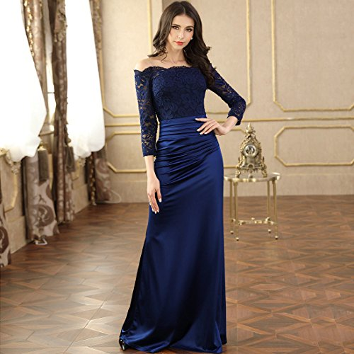 MIUSOL Women's Formal Evening Maxi 3/4 Sleeve Lace Dress,Off Shoulder Ball Gown Wedding Dresses For Women