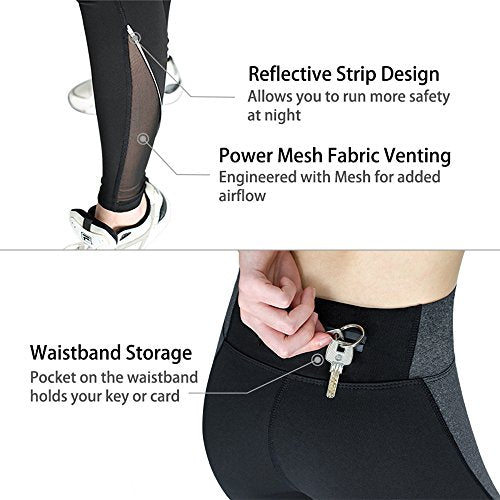 Zenwow Women's Yoga Leggings Fitness Workout Pants Running Tights Gym Mesh Sports Trousers With Zipper Pocket