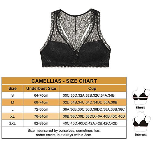 Camellias Women Lace Floral Racerback Bralette Padded Cup Breathable Lingerie Bustier Bra