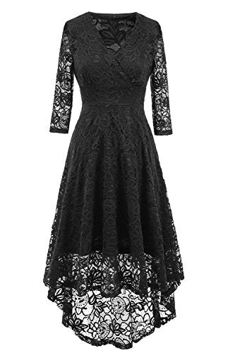 NALATI Women Vintage Beautiful 50's retro floral lace fabric Swing dress With 3/4 Long Sleeve Deep V Neck High Waist High-low Hip Lace Party Cocktail Dress