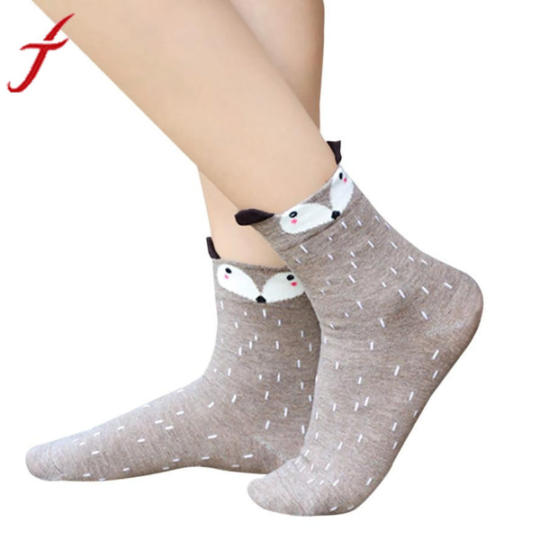 1Pair Funny Socks Women Cute Little Animal Fox Printed Lady Socks harajuku designer fashion street In The Tube Socks For Autumn