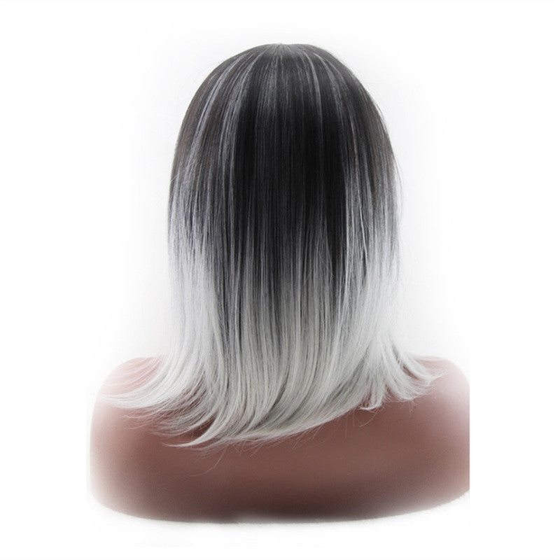 High-temperature Synthetic Shoulder Length Fiber 3/7 Part Straight Women's Ombre 2 Tones Full Wigs / Hair Dark Roots