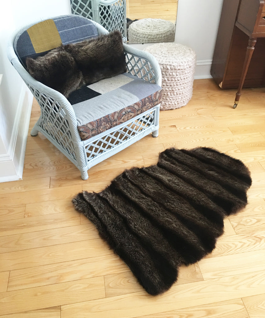 Beaver rug made from an old fur coat
