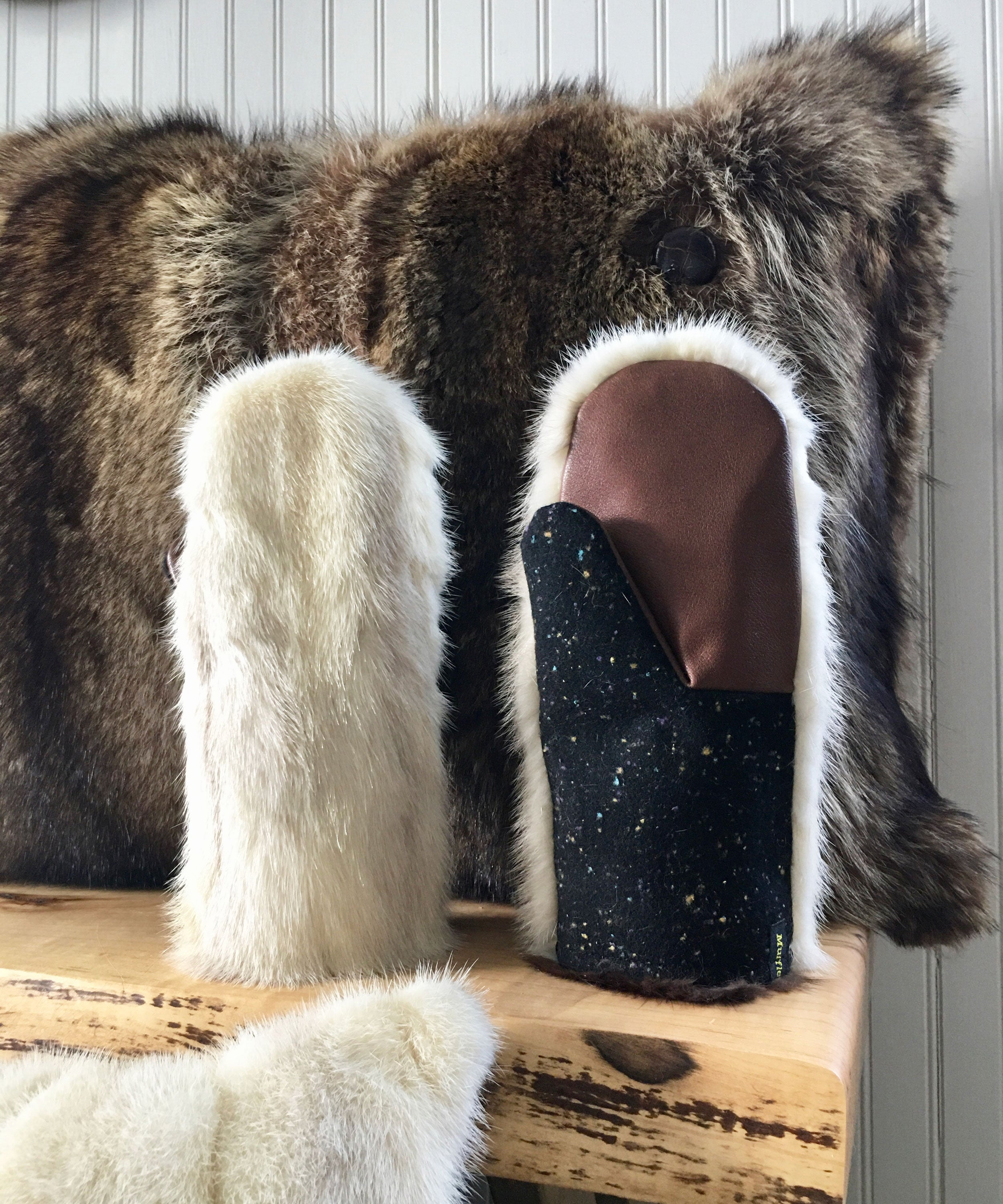 recycled fur mittens from a vintage fur coat
