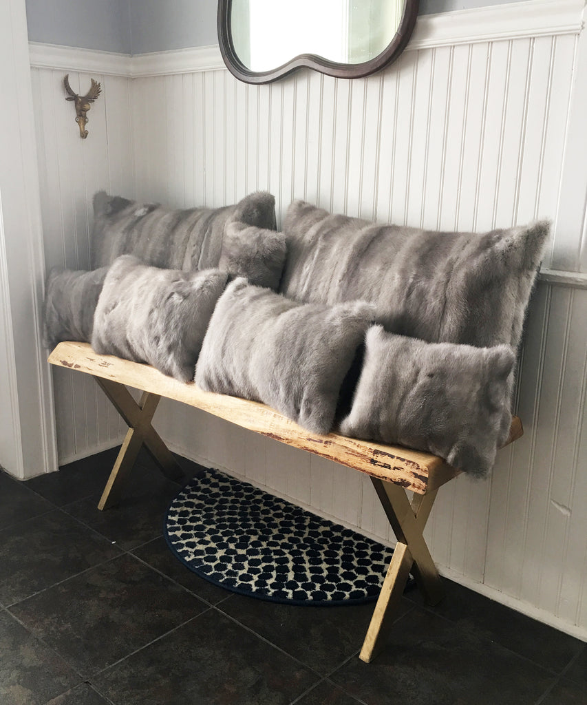 gray mink pillows made in canada from a fur coat