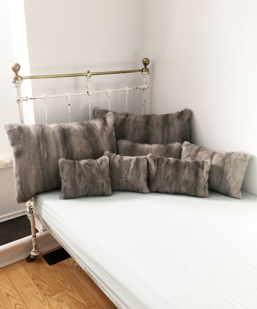 Gray Mink pillows made from a vintage fur coat in Canada
