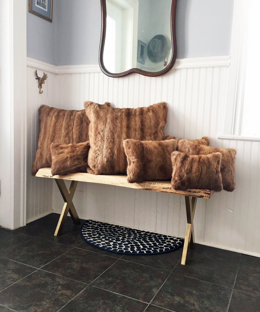 pillows made from vintage fur coat
