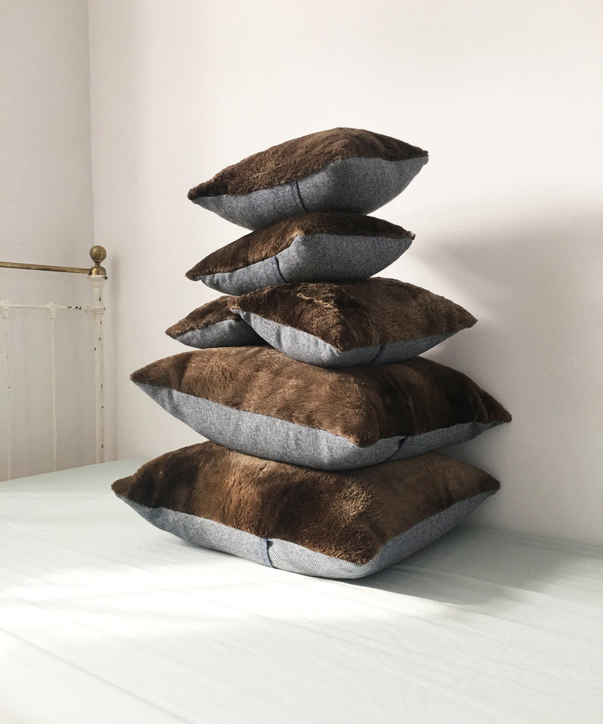 Pillows made from a sheared beaver jacket