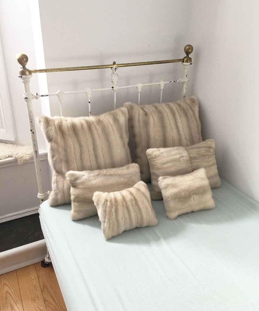 Group of mink fur pillows made in Canada