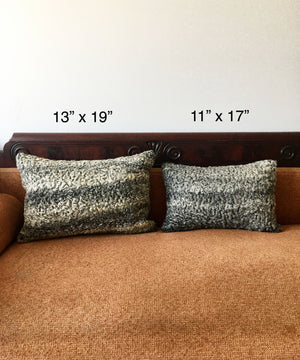 "Reclaimed Gray Sheep Fur Pillow 13"" x 19"""