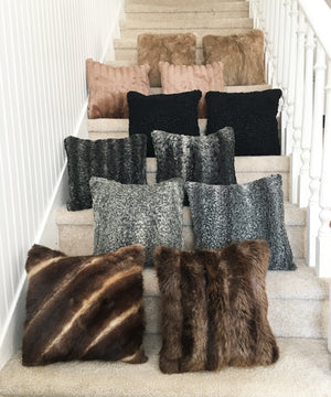 "Square Fur Accent Pillows, 14"" x 14"", 11"" x 17"" Cocoa Muskrat"