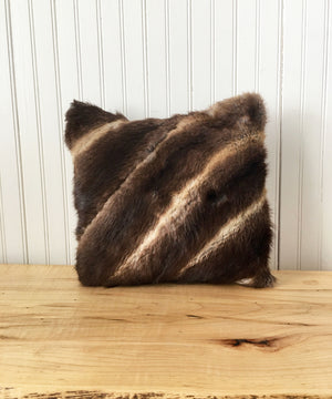 "Square Fur Accent Pillow, 14"" x 14"", Muskrat"