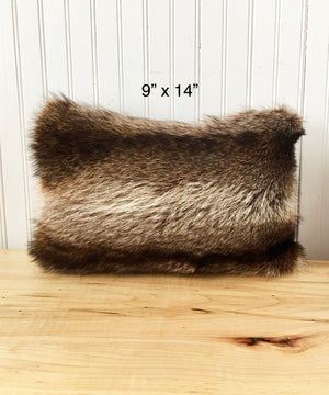 "Raccoon Fur Accent Pillows, 11"" x 17"" and 9"" x 14"""