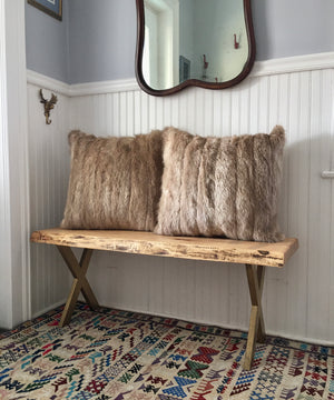 Reclaimed Tan Fur Pillow 22 x 22""