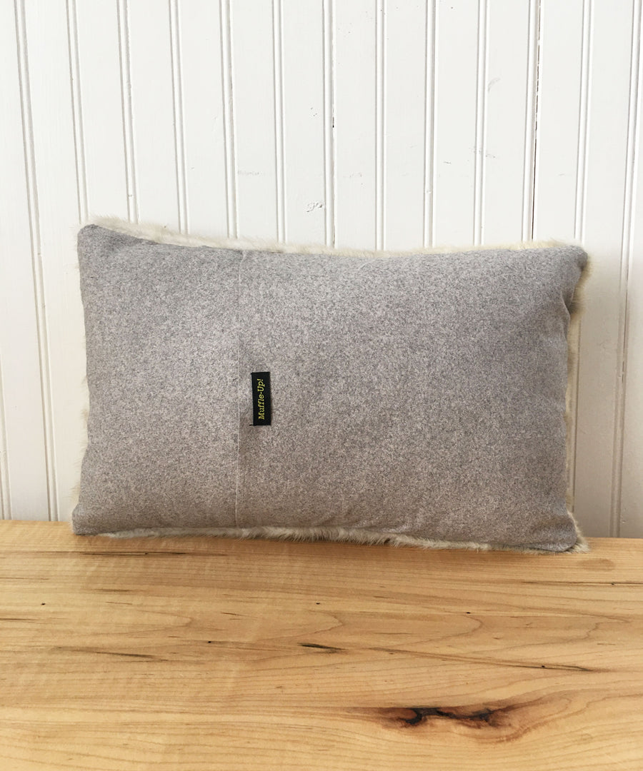 "Reclaimed White Mink Fur Accent Pillows, 11"" x 17"""