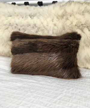 "Beaver Fur Accent Pillows, 11"" x 17"""