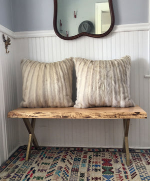 Reclaimed White Mink Fur Pillow 22 x 22""
