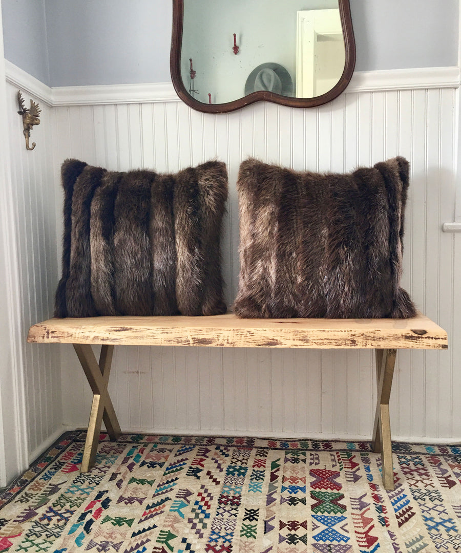 Reclaimed Beaver Fur Pillow 22 x 22""