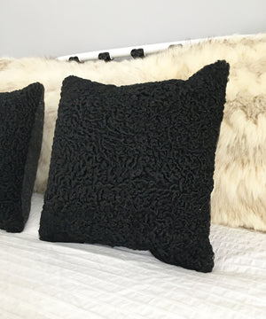 "Square Fur Accent Pillows, 14"" x 14"", Black Persian Lamb"