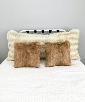 "Square Fur Accent Pillows, 14"" x 14"", Muskrat"