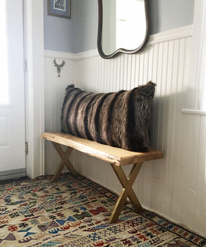 "Reclaimed Raccoon Fur Body Pillow 20"" x 48"""