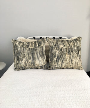 Reclaimed Gray Persian Lamb Fur Pillow 22 x 22""