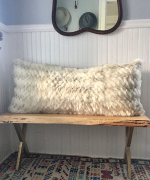 "Reclaimed White Fox Fur Body Pillow 20"" x 48"""