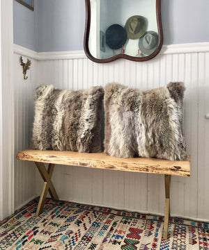 Reclaimed Coyote Fur Pillow 22 x 22""