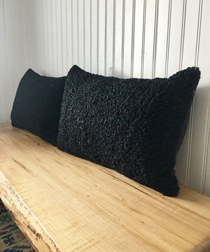 "Reclaimed Black Sheep Fur Pillow 13"" x 19"""