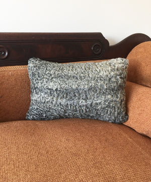 "Reclaimed Gray Sheep Fur Pillow 11"" x 17"""