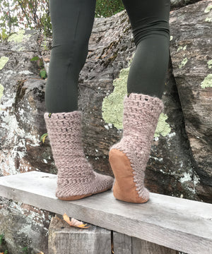 Muffle-Boot: Fawn, Beige Merino Wool Boot Slipper with Leather Sole