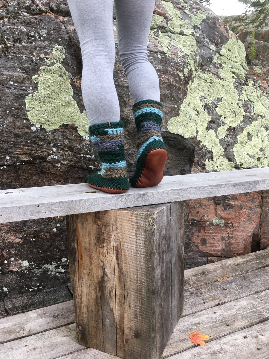 Green Merino Wool Slipper Boot with Leather Soles