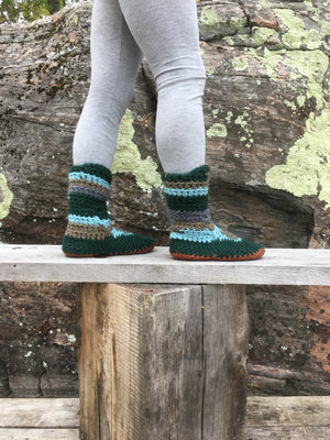 Green Merino Wool Slipper Boot, Handmade in Canada