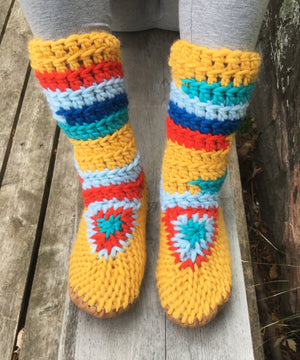 Handmade Slipper Boots with leather soles, school bus yellow with bright accents