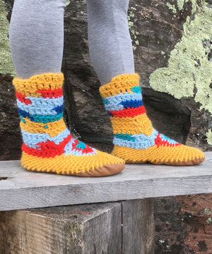 Bright Yellow Merino Wool Slippers, Handmade in Canada