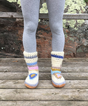 Multi Color Merino Wool Slipper Boots, Made in Canada