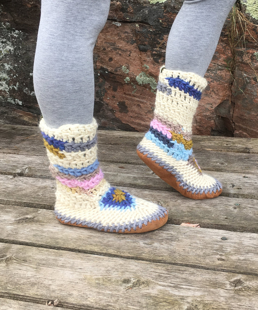 Merino Wool Slipper Boot in Ivory with Bright Multi Colored Accents