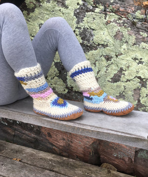 Multi Color Merino Wool Slipper Boots, Handmade in Canada