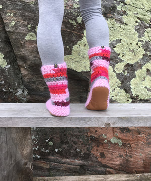 Muffle-Boot: Pinks, Funk Merino Wool Slipper Boot with Leather Sole