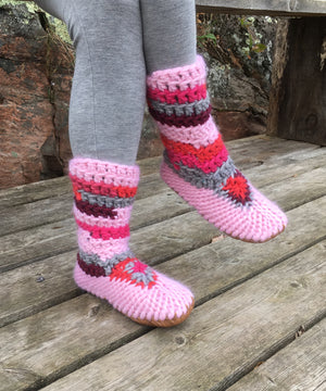 Muffle-Boot: Pinks, Merino Wool Slipper Boot