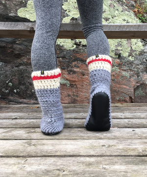 Muffle-Boot: Sock Monkey, Merino Wool Slipper Boot