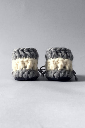 knitted kids slippers grey handmade upcycled